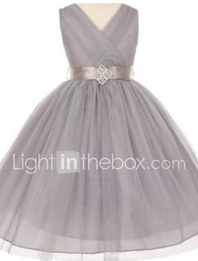 27f738065 vestido de la muchacha de flor de la longitud del té del vestido de bola -  tul-cuello sin mangas de v con el detalle cristalino por thstylee 2017 -  €53.39