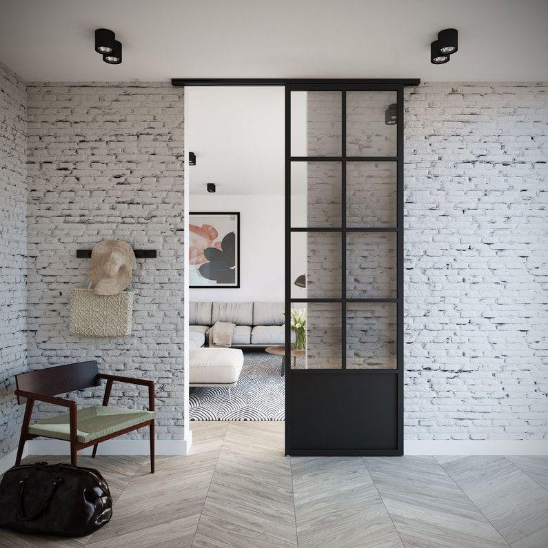 Porte Coulissante Laque Noir Monnet Xxl H 254 5 X L 83 Cm Hors Vitrage Leroy Merlin Glass Closet Doors Home Doors Interior