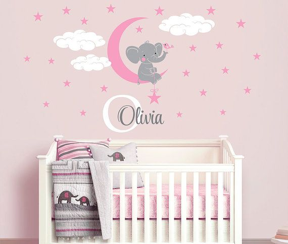 Elephant custom name personalized initial wall decal sticker for nursery girls room or playroom