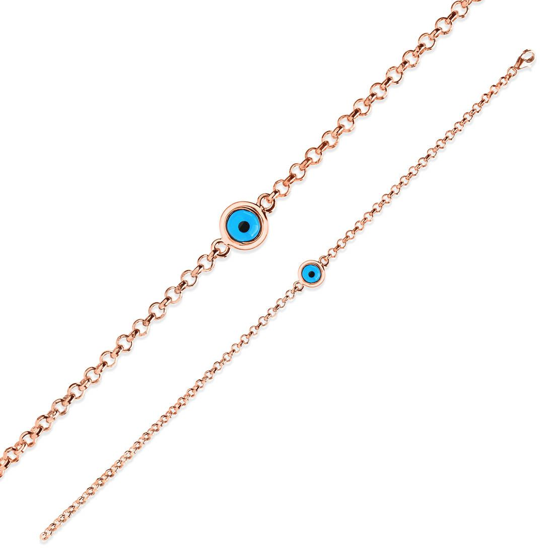 Photo of Evil Eye Chain Bracelet / Sterling Silver Bracelet / Evil Eye Bracelet / Ladies Bracelet / 14k Rose Gold Plated Bracelet