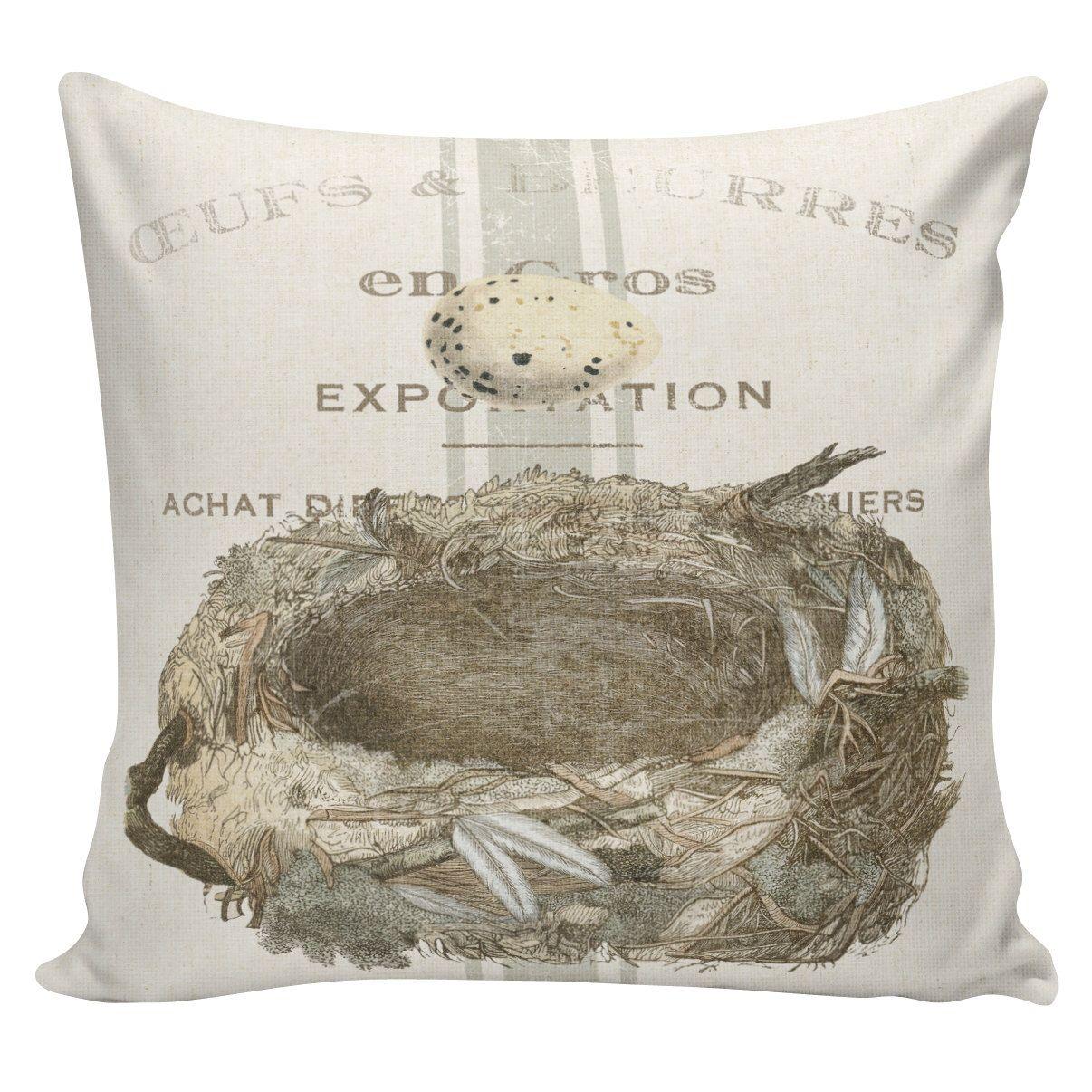 Easter Pillows, Egg Nest Pillows, Easter Decor, Burlap