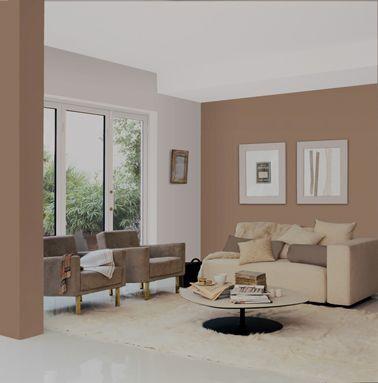 Salon peinture rose et taupe canapé couleur lin | Living room ...