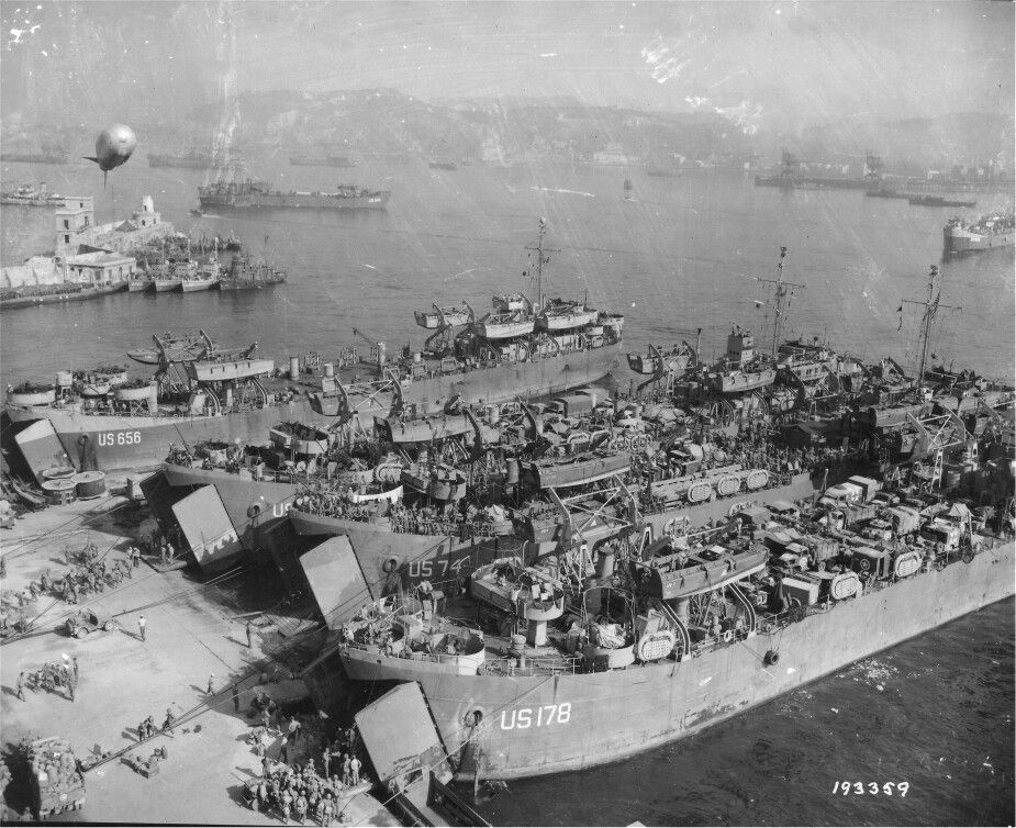 LST 178 loading for invasion of southern France Ship