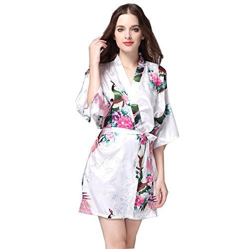 427a6c15be gusuqing Women s Printing Peacock Kimono Robe Short Sleeve Silk Bridal Robe  Navy M