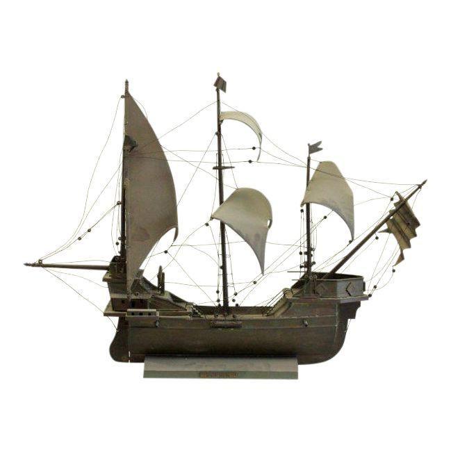 Brass Santa Maria Ship Sculpture