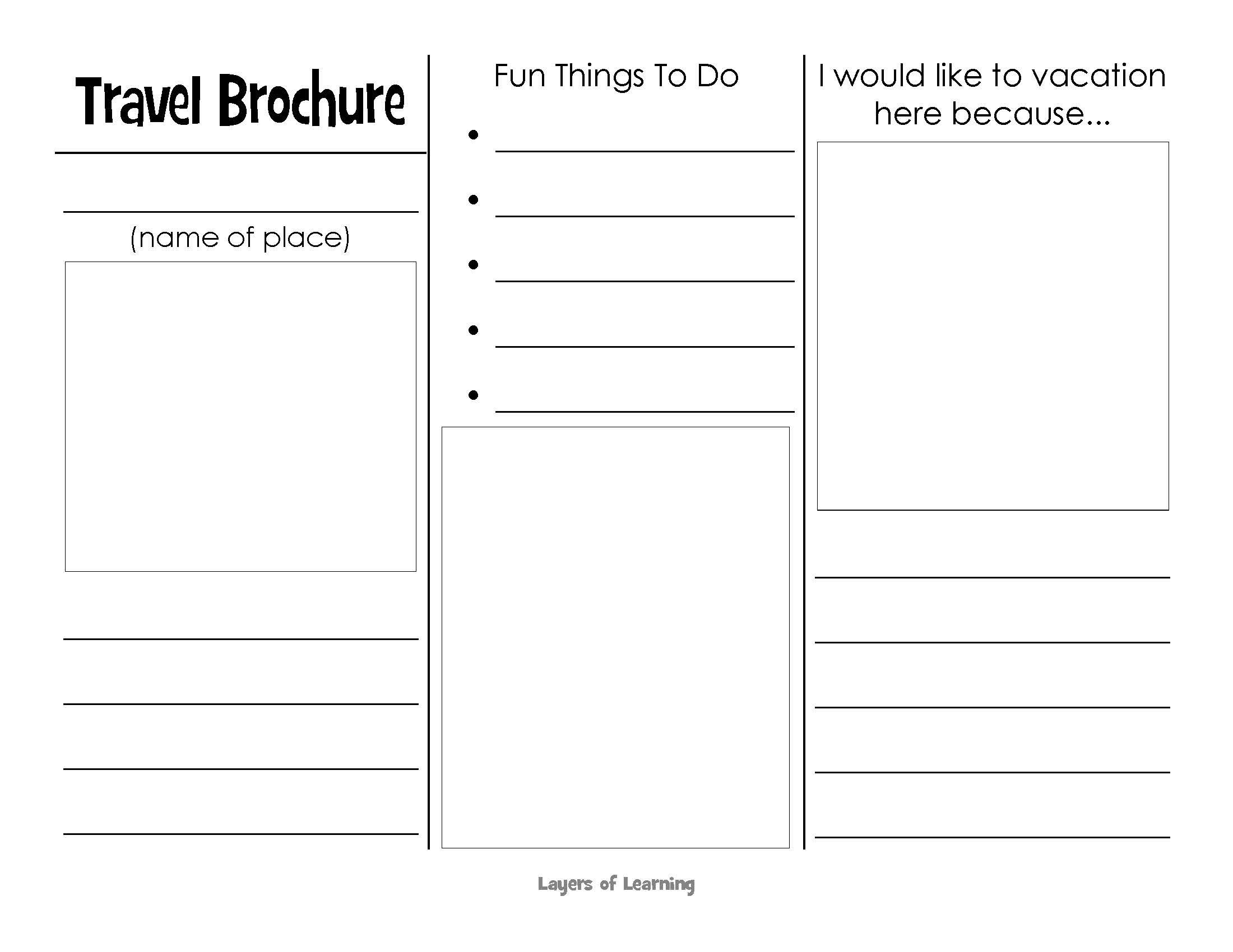 This printable travel brochure will help kids organize for Travel brochure template free