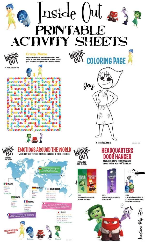 Inside Out Free Printable Activities and Recipes Free printable