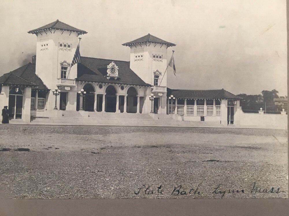 Antique Photograph of State Bath House Lynn Massachusetts Beach Early 1900s