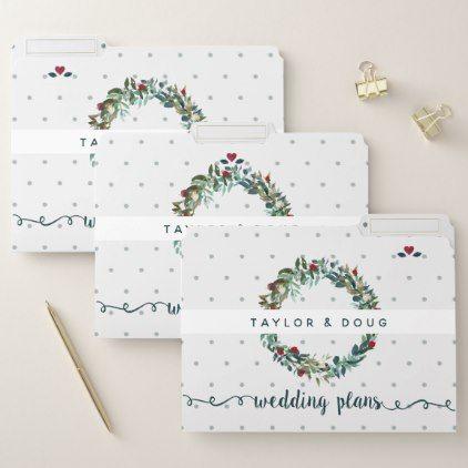 Romantic Watercolor Christmas Wedding Plans File Folder Watercolor