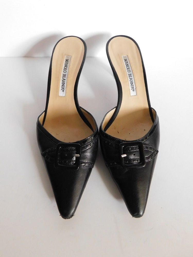 e3e546a2ccd5f Manolo Blahnik Black Buckle Point Toe Leather Backless Kitten Heel Pumps -  36.5 #ManoloBlahnik #Mules