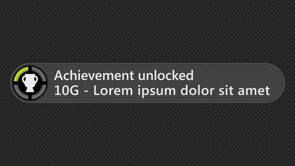 Achievement System: XBOX - Achievement Unlocked notification