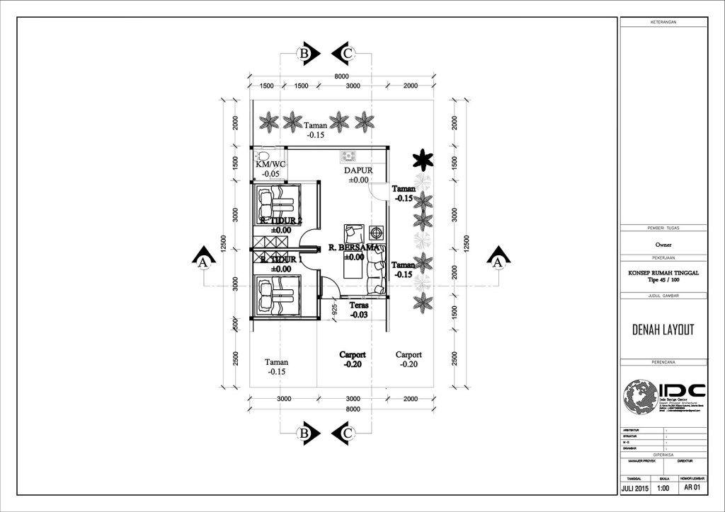 Gambar Kerja Rumah Tinggal Type 45 Jasa Desain Rumah Jakarta Jasa
