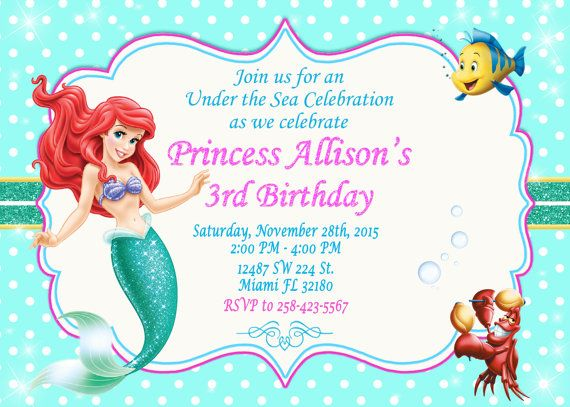 Little Mermaid Ariel Invitation Birthday Little by LuckyPixel