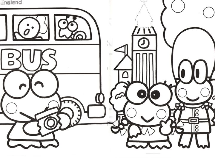 Keroppi Coloring Pages Journaling Hello Kitty Coloring Coloring