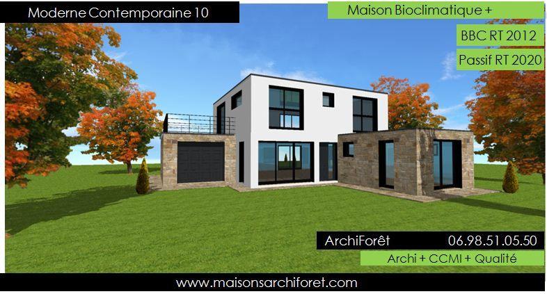 Modele Maison Ossature Bois Moderne Contemporaine Design n°10 Vue 2