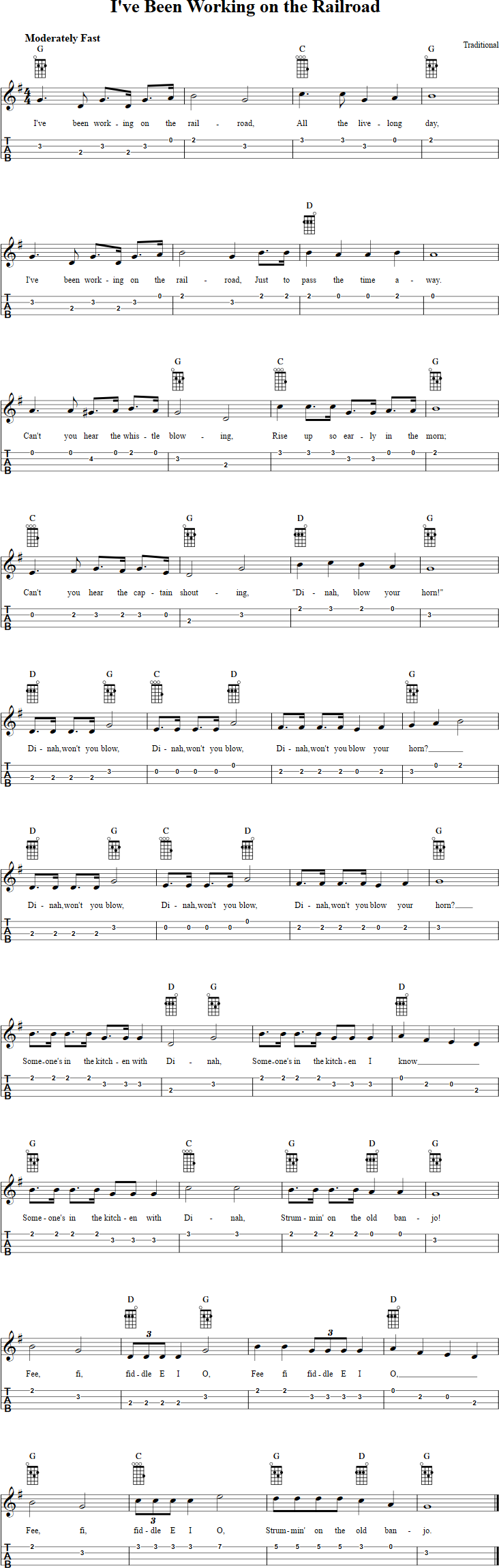 Ive been working on the railroad ukulele tab when i have time free ukulele sheet music for ive been working on the railroad with chord diagrams lyrics and tablature hexwebz Gallery