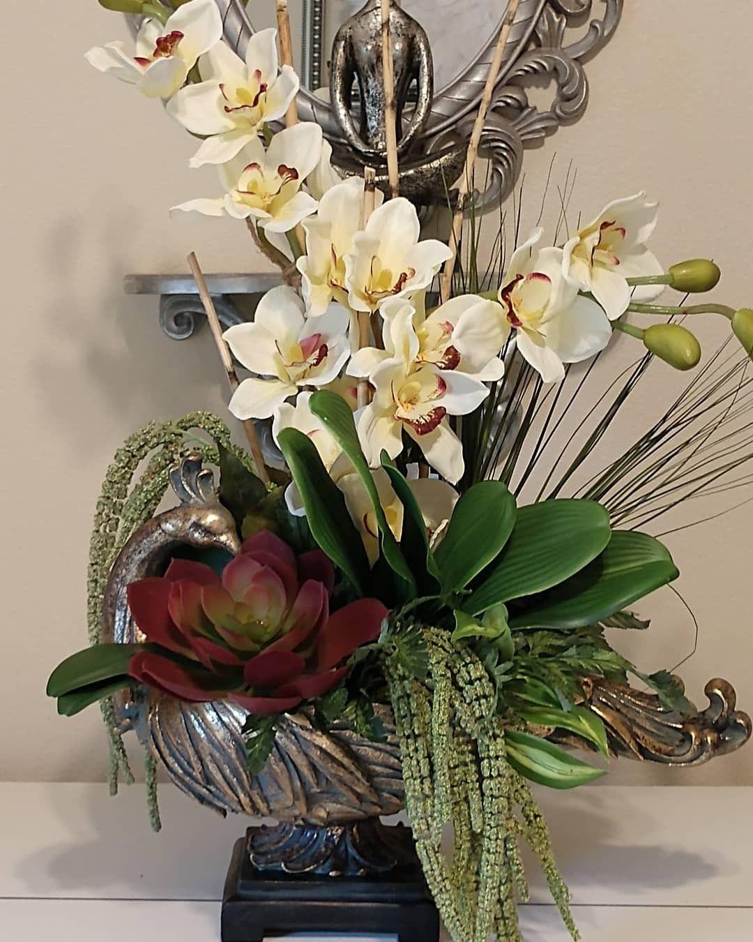 Faux Orchids in 2020   Orchid arrangements, Orchids