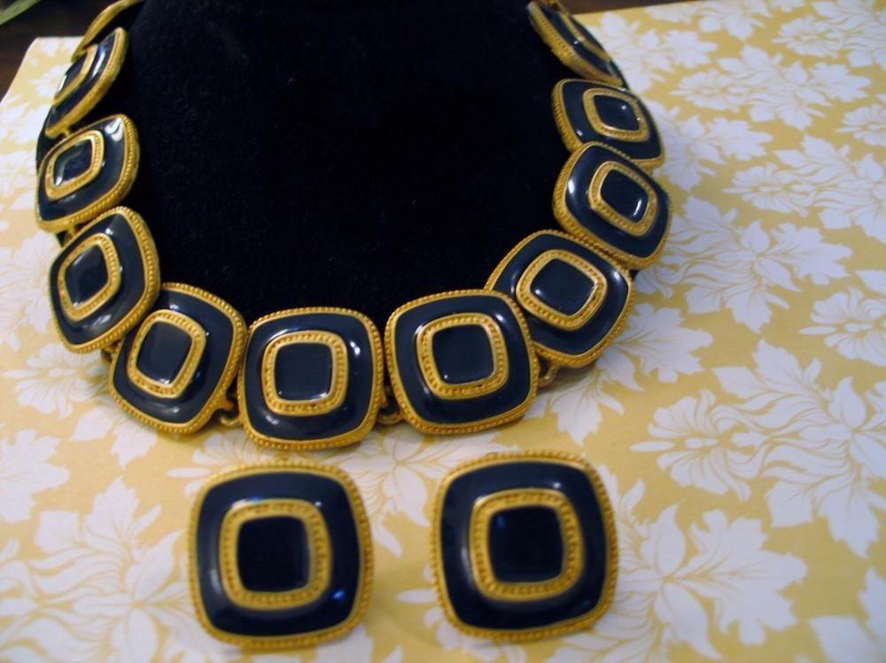 Mod Retro Blue Enamel & Goldplate Choker Necklace & Earrings Nashville Chic! #Unbranded