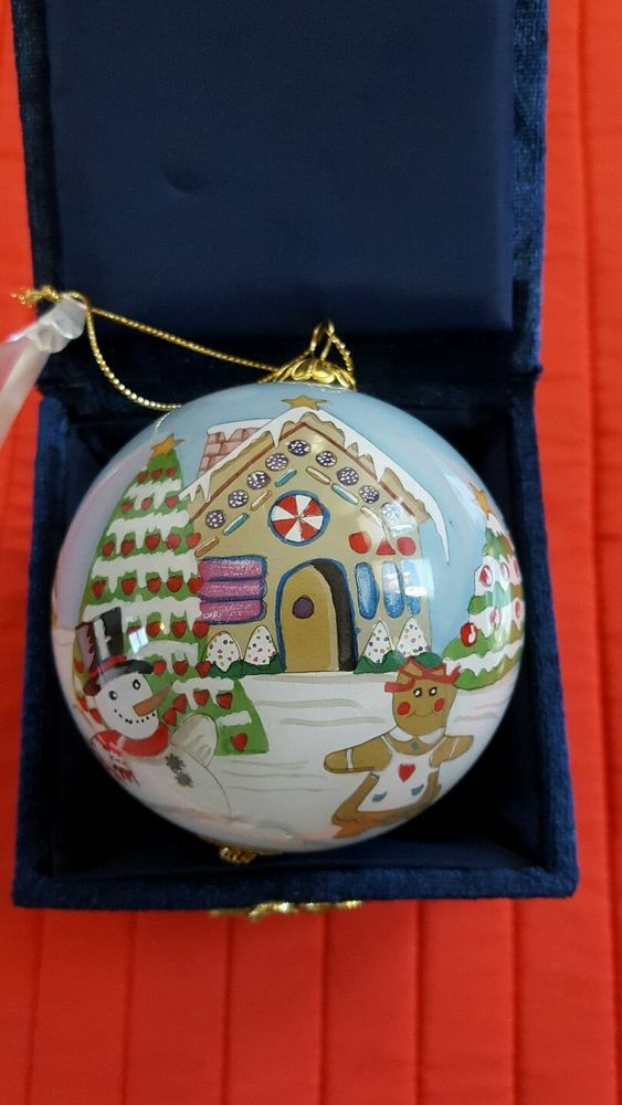 Li Bien hand painted Ornament Glass Ball Snowman Gingerbread 2003 with Box
