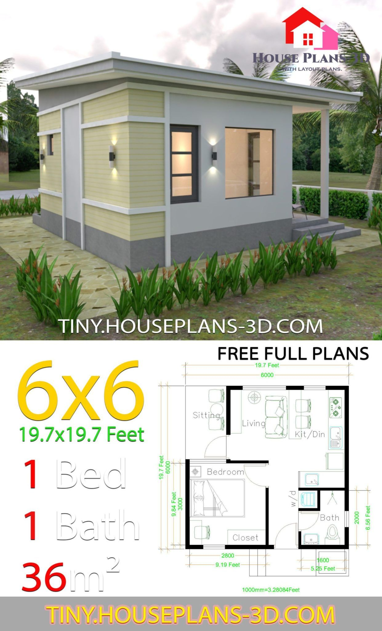 One Bedroom House Plans 6x6 With Shed Roof In 2020 One Bedroom House Small House Design Plans One Bedroom House Plans