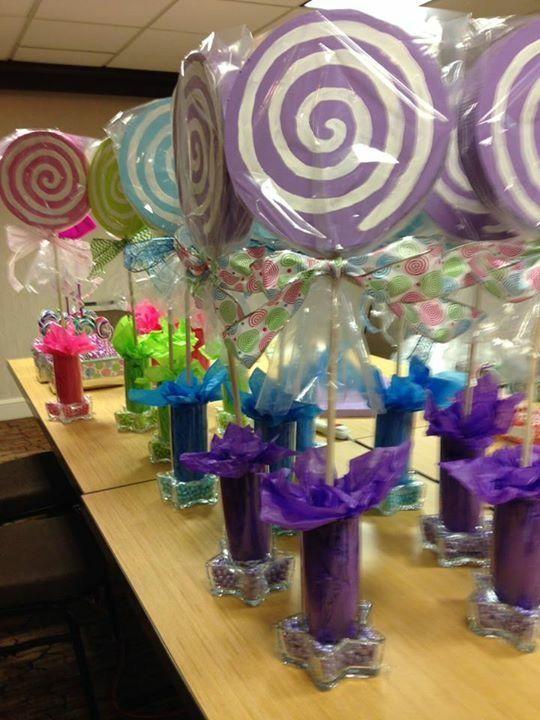 Candy Centerpieces Part - 31: Styrofoam Lollipop Centerpieces With Matching Sixlet Candies In Start  Votives.
