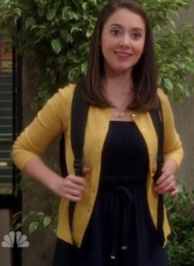 Annie's navy dress and yellow cardigan on Community. Outfit ...