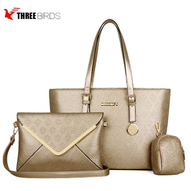 China alibaba wholesale 2018 women handbags set 3 pcs ladies purse bags  with zipper 8143b0d11d889