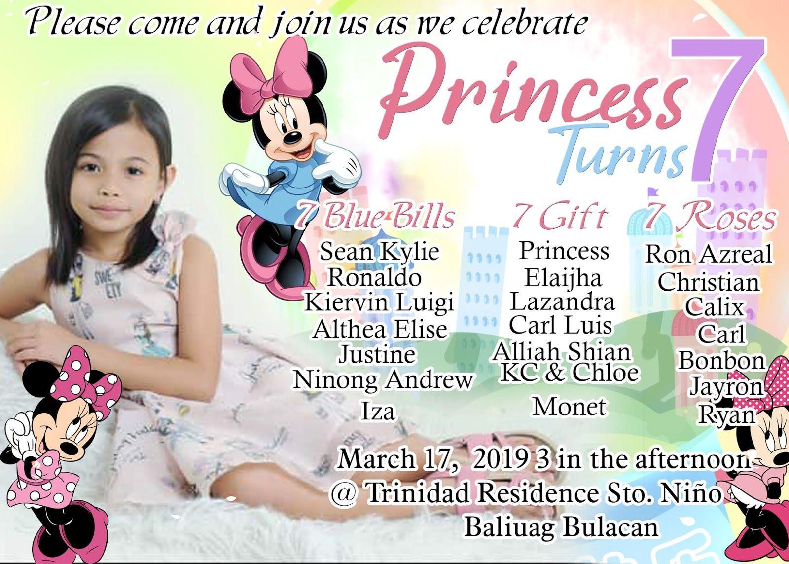 Creative And Unique Minnie Mouse For Seventh Birthday Invitation