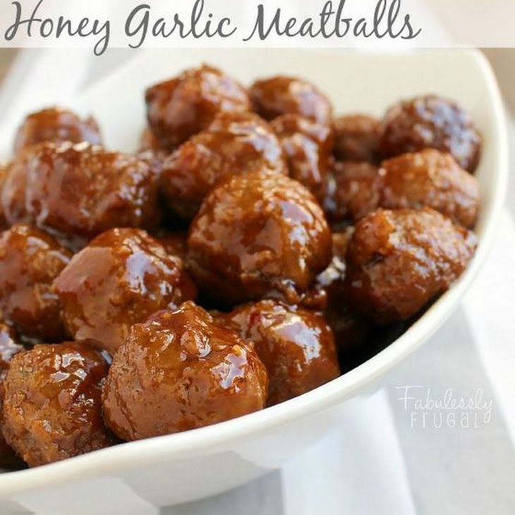 Slow Cooker Honey Garlic Meatballs With 5 Ingredient Sauce Recipe Appetizers, Main Dishes with brown sugar, honey, ketchup, soy sauce, garlic, frozen meatballs