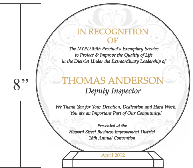police appreciation plaque sample