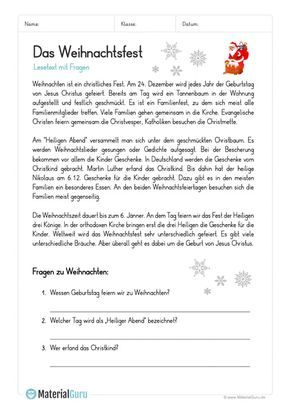 arbeitsblatt lesetext das weihnachtsfest deutsch klasse 3 learn german language und. Black Bedroom Furniture Sets. Home Design Ideas