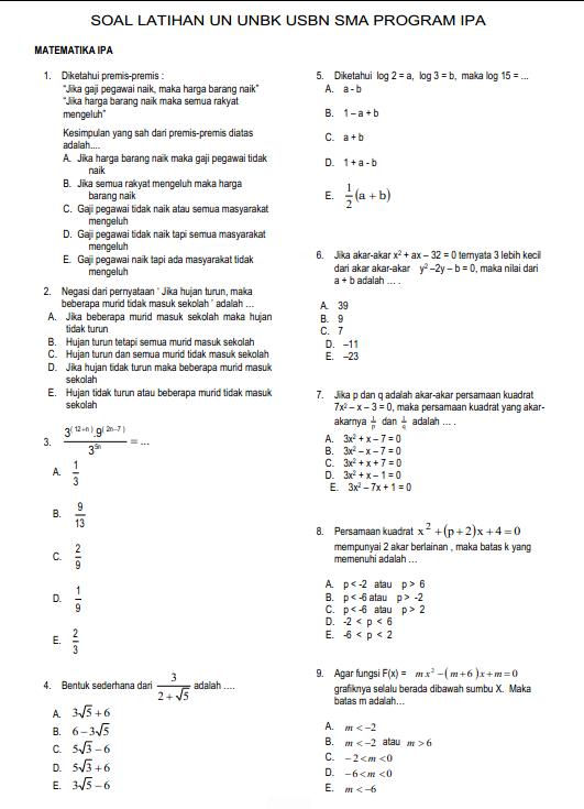 Soal Dan Jawaban Latihan Un Unbk Usbn Matematika Sma Program Ipa Pendidikan Kewarganegaraan Matematika Sma Matematika Ipa