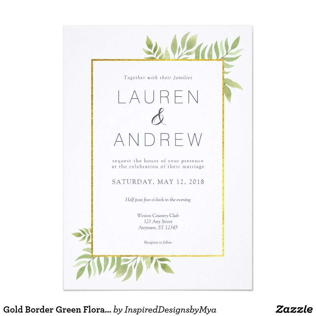 Gold Greenery Floral Leaves Wedding Invitation | Weddings ...