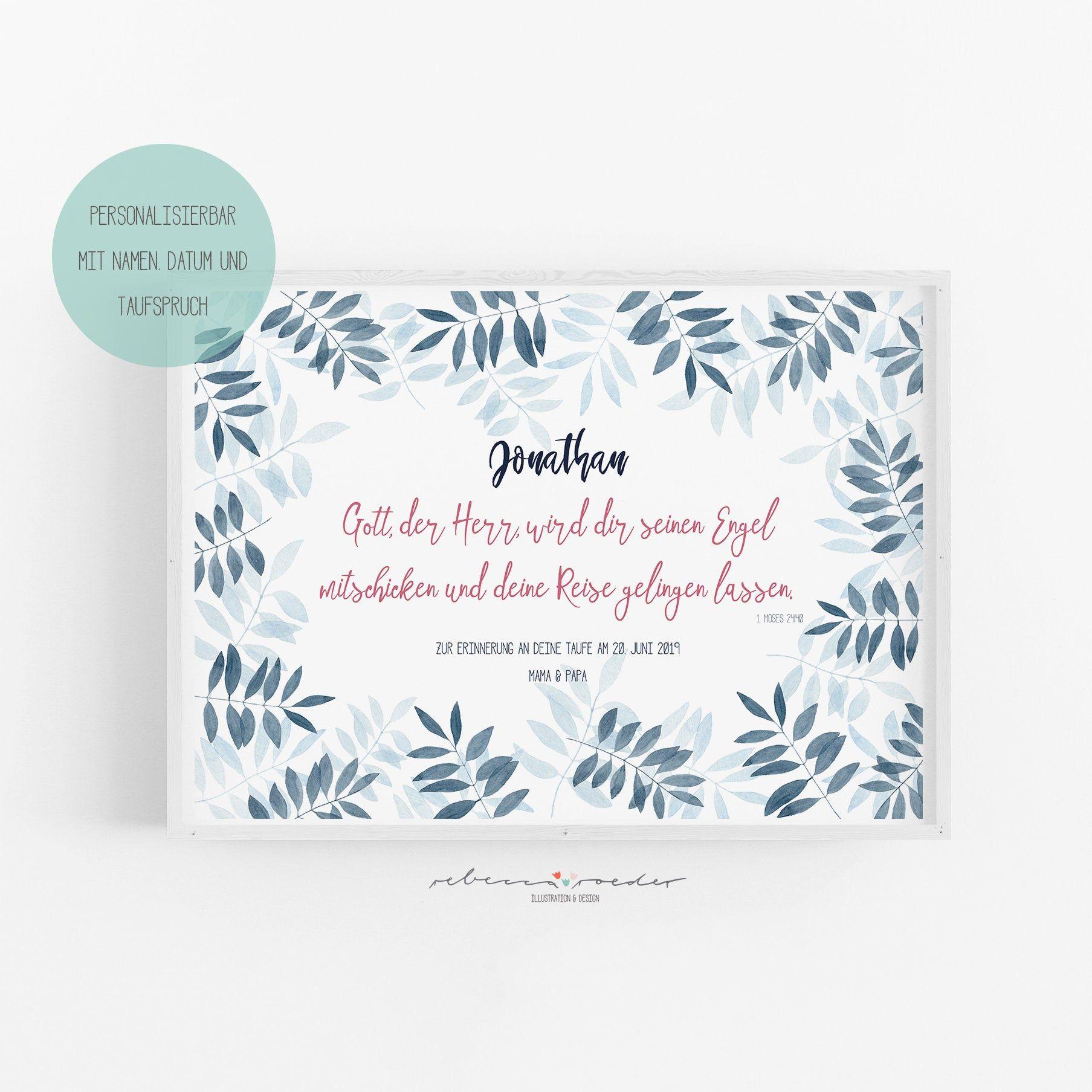 Taufspruch Blau Kunstdruck / Geschenk zur Taufe / A4   Zur