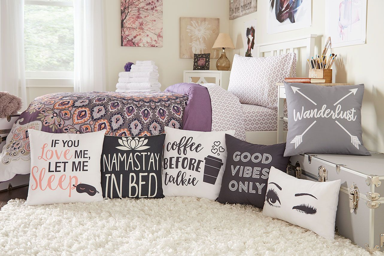 Which Pillow Do You Love Love Cute Adorable Pillows Dormdecor Interiordesign Design Decor Dorm Room Pillow Dorm Room Diy Dorm Room Necessities