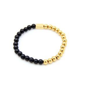 Men's Beaded Bracelet Gold Stainless Steel & Black Matte Onyx