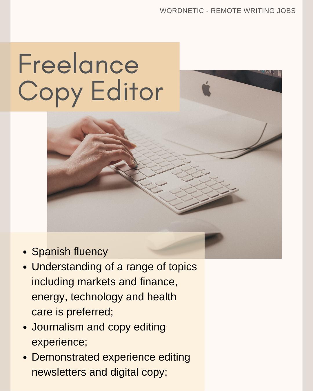 Freelance Copy Editor Spanish Fluency Remote Jobs In 2020 Writing Jobs Copy Editor Remote Jobs