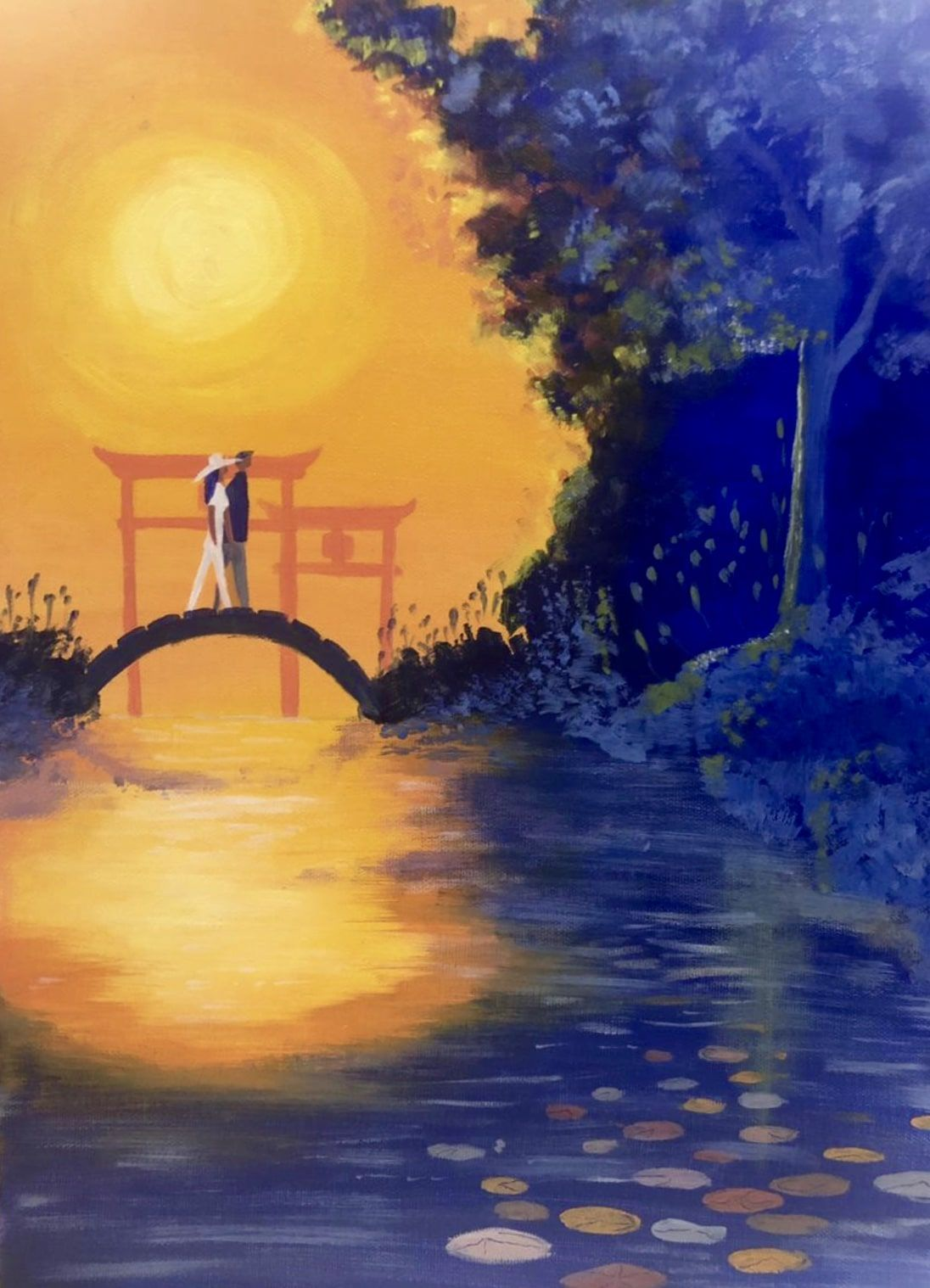 Kyoto Love Story Painting Online Painting Classes Online Painting