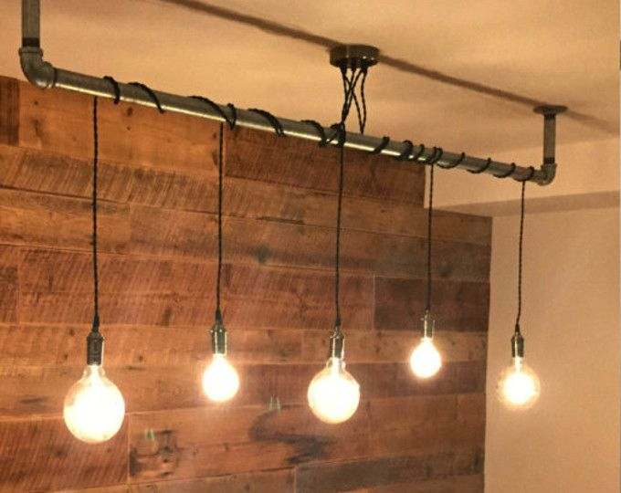 Lampadario Rustico Moderno : 9 pendant light wrap a pipe or bar modern chandelier industrial