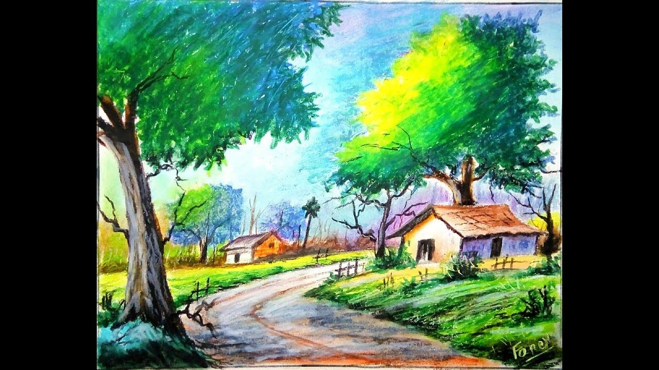 Scenery Drawing With Oil Pastels For Beginners Step By Step Easy Dra Easy Landscape Paintings Drawing Scenery Landscape Drawings