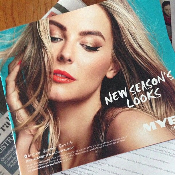 Jennifer Hawkins Miss Universe 2004 on the new myer beauty catalogue + for Australia's Next Top