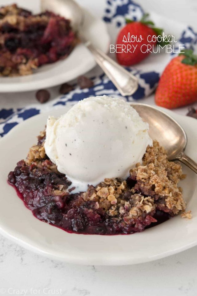 Slow Cooker Berry Crumble - Crazy for Crust