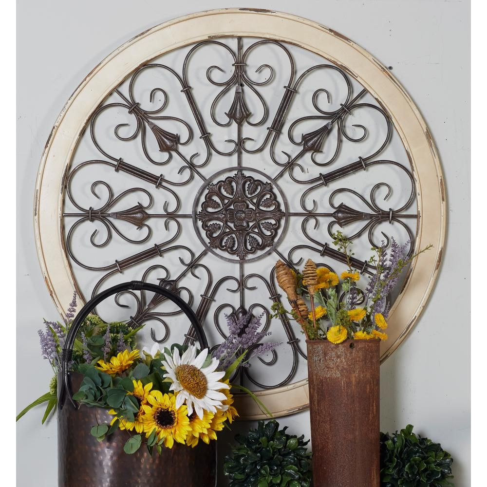 Litton Lane 36 In Scrollwork Medallion Framed Wooden Wall Art 52734 The Home Depot Wall Medallion White Wall Decor Scrollwork