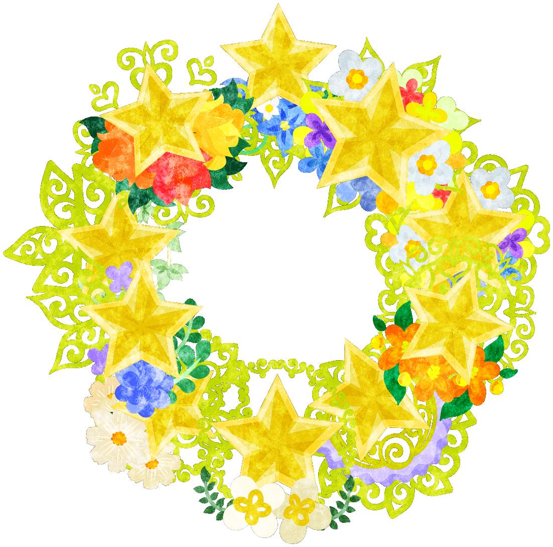 星の宝石で作られたリース