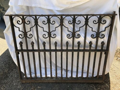 Antique Heavy Wrought Iron Garden Fence Gate Section Ebay Garden Fence Fence Gate Wrought