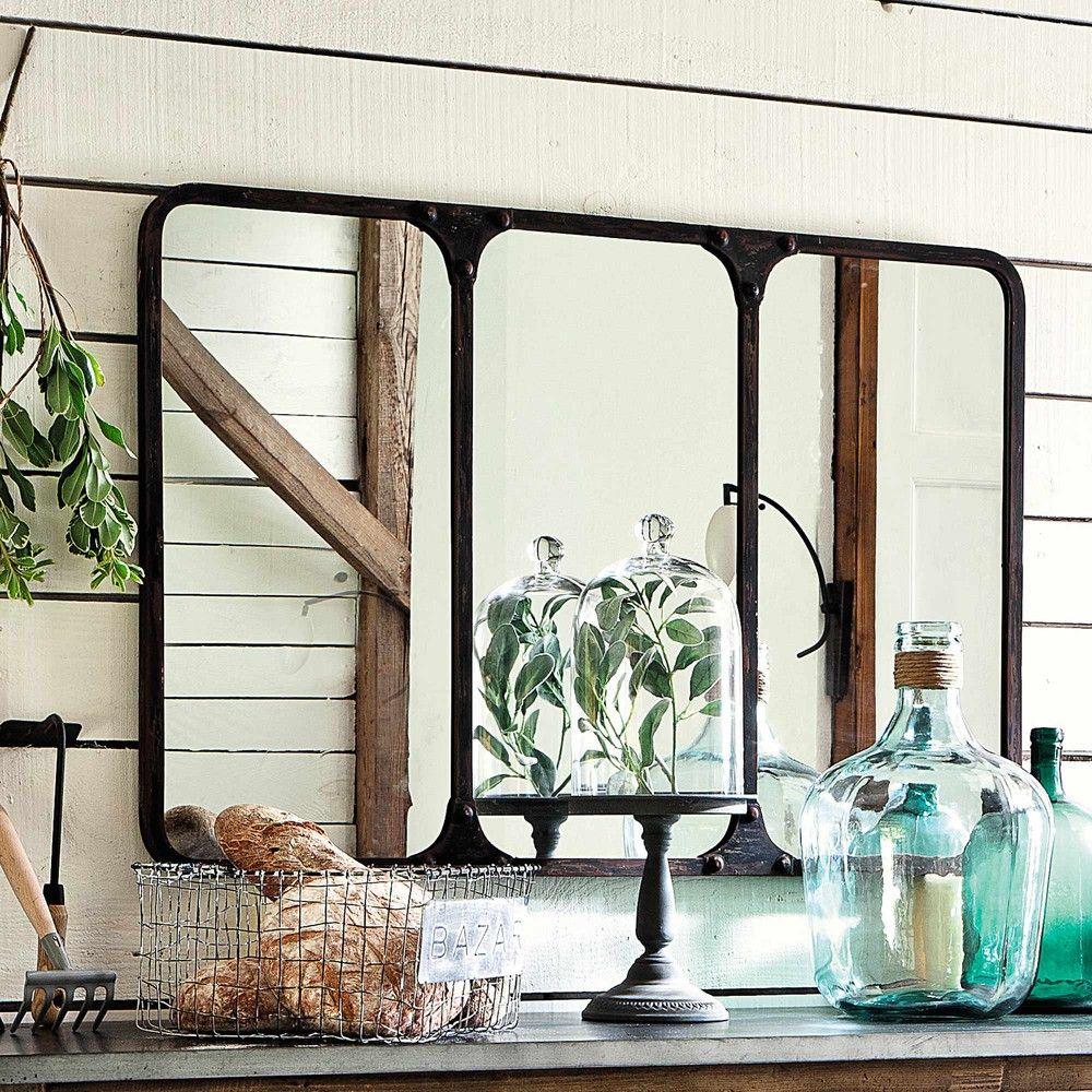 12 magnifiques miroirs industriels d couvrir miroir industriel m tal noir et miroirs. Black Bedroom Furniture Sets. Home Design Ideas