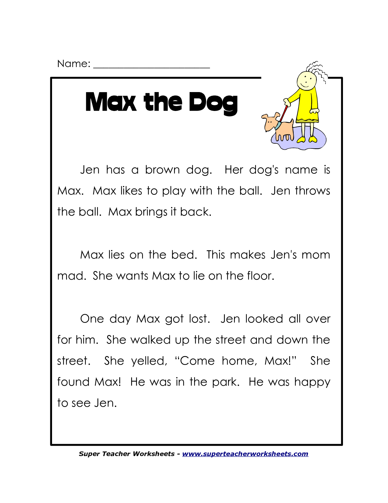 First Grade Printable Reading Worksheets | Guided Reading ...