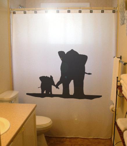 Mother Baby Elephant Shower Curtain family kids bathroom decor ...