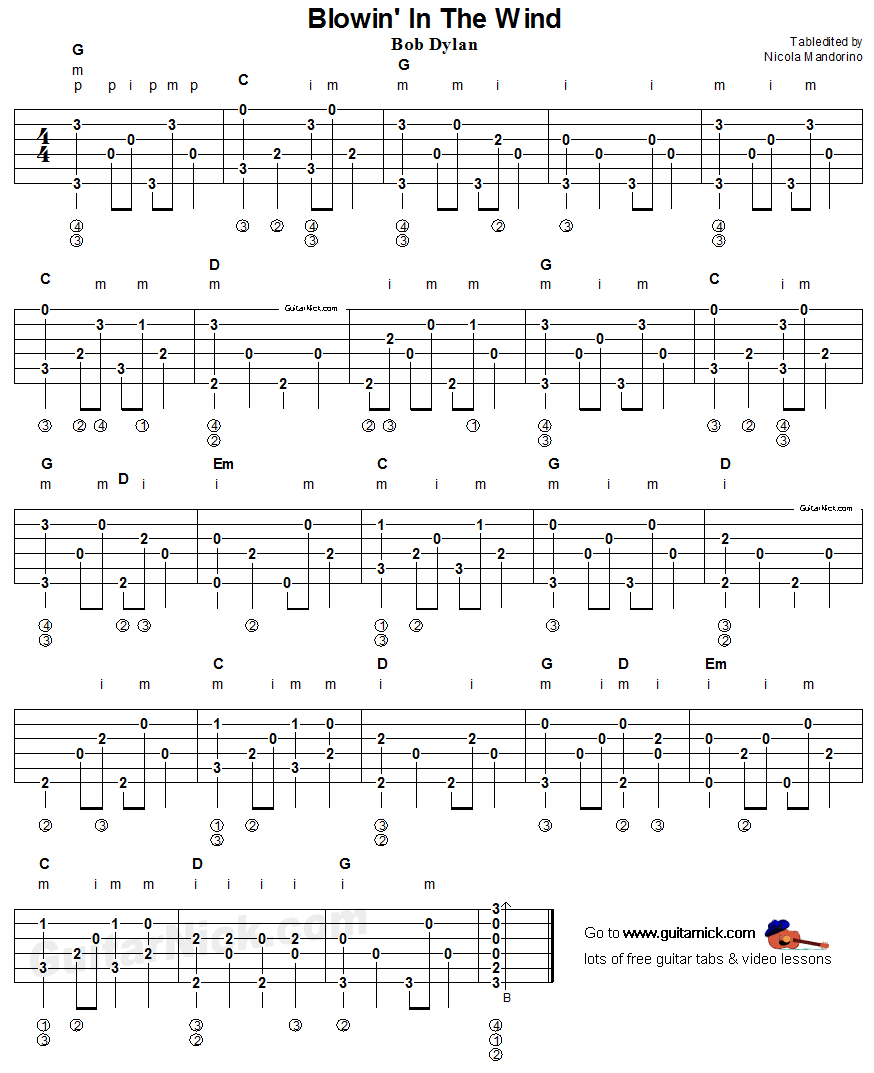 Blowin In The Wind Fingerpicking Guitar Tab Guitarnick Com