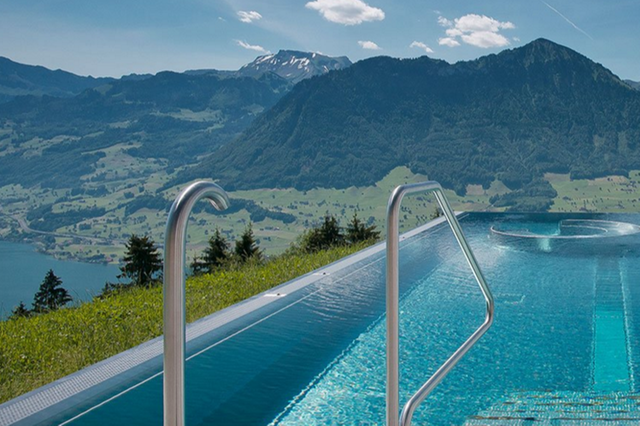 Stunning views over Lake Lucerne and surrounding mountains in central Switzerland. (Villa Honegg)